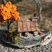 Miniature Miners Cottage with PURE GOLD NUGGET, orange tree and 4-wheel wagon