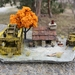 Miniature Stone Miners Cottage with Water Wheel, Orange Tree and Four Wheel Wagon