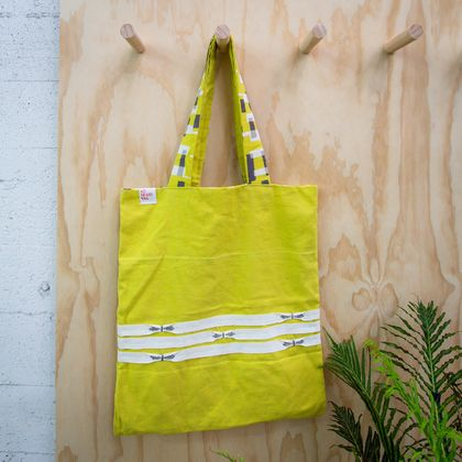 No Brand Bag - Mustard tote bag with white ribbons