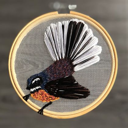 New Zealand Fantail - Embroidery on Tulle